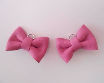 2 mini leather knot pink Orchid 2 x 3 cm