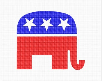 Needlepoint Kit or Canvas: Republican Party Symbol