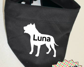 Dog Bandana with Name & Silhouette and Tied-on Knot