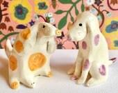 Keramik Hund Ornamente - Keramik Hunde - Welpen Figuren /sculptures--Spaniel / Westie / Pommern / Dackel / Collie