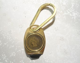 1 Goldplated Indian Head Penny Keyring