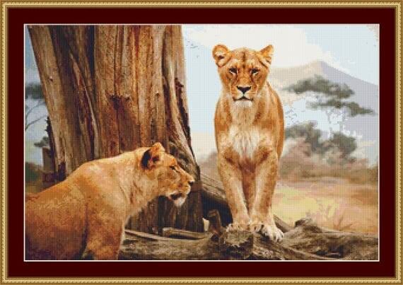 Lionesses Cross Stitch Pattern /Digital PDF Files /Instant downloadable