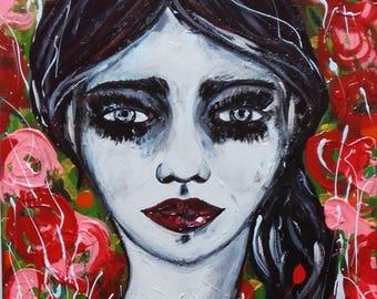 Portrait Girl Sad Face Original Painting Canvas Portrait  Flowers Red Black Portrait Home Decor Portrait Fine Art Portrait Wall Art