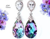Swarovski Vitrail Light Earrings Pink & Purple Earrings Bridesmaid Earrings Cubic Zirconia Earrings Crystal Earrings Rhodium Plated VL32P