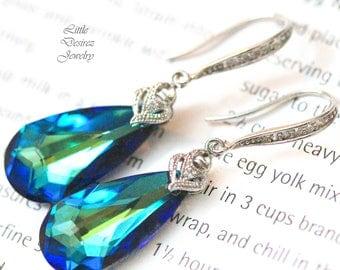 Bermuda Blue Earrings Peacock Earrings Blue Green Earrings Swarovski Crystal Blue Bridal Earrings Bridemaid Earrings Vintage Style BB33H