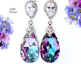 Swarovski Vitrail Light Earrings Pink & Purple Earrings Bridesmaid Earrings Cubic Zirconia Earrings Crystal Earrings Rhodium Plated VL32P