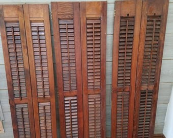 Vintage Wood Shutter 1950's Tall Wood Louvered Shutters Indoor