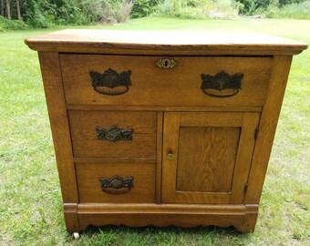 Antique Dry Sink Oak Cabinet Furniture Dresser Farmhouse