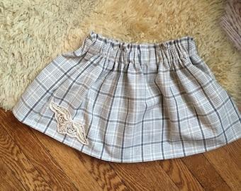 Gray Check Flannel Twirl Skirt, toddler, little girl