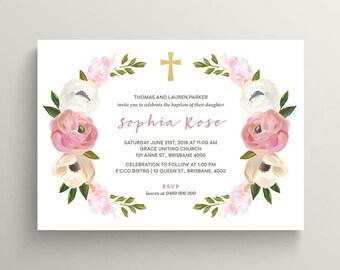 Girl Christening, Girl Baptism, Holy Communion Invitation \ Printable Invitation \ Vintage Floral Invitation (CR59)