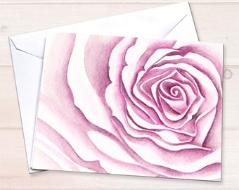 Watercolor Rose notecards, Floral stationery, watercolor rose, bridal shower thank you card, baby shower thank you card, gardening notecards
