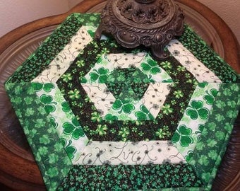 St.Patricks Day/ candle mat/ Irish decor/Luck of the Irish Sparkly fabrics