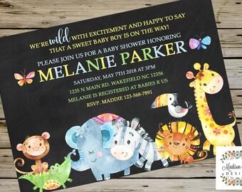 JUNGLE Safari BABY SHOWER Invitation, Customized Digital Printable Baby Shower Invitation, Jungle Safari Animals Baby Shower Invite