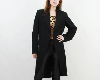 SALE 60s Tailcoat / Wool Tailcoat / Man Tailcoat / Man Wool Coat / Lacet Zetten / Steampunk Coat / Black Tailcoat / Wedding Coat / Tuxedo Co
