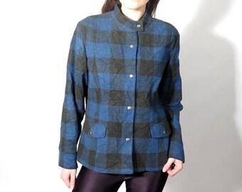 25% OFF Vintage Pendleton Blue and Black Plaid Jacket Size L