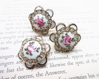 Guilloche Enamel Brooch and Earring Set - Rhinestone and Pink Rose Flower -Gift for her