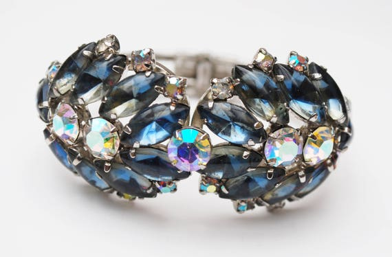 Juliana  D and E Rhinestone Clamper Bracelet -  Blueish Gray Aurora borealis Crystal - Silver hinged Bangle -  DeLizza & Elster