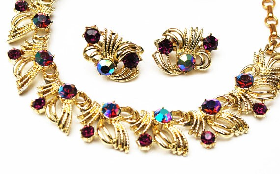 Purple Rhinestone link necklace earring set  - signed Coro -  Mid century - Vintage jewelry set - Clip on earrings