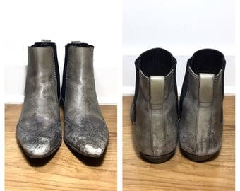 Size 11 Size 10 Christian Dior Ankle Boots Womens 11 Mens 10 Grey Dior Oxford Booties Vintage Dior Shoes Leather Chelsea Boots