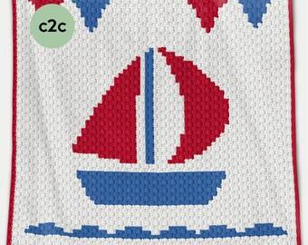 CROCHET Pattern - C2C Baby Blanket - Boat - Crochet Chart - Boat C2C Crochet Pattern - Afghan Crochet Pattern - Boat Crochet  Graph
