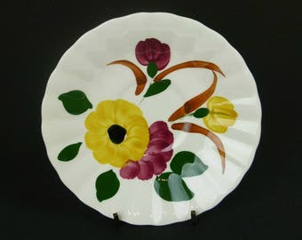 Six Ucagco Plates Saucers - Sunflower Daisy Pattern - Made in the USA - UCAGCO Blue Ridge Southern Potteries