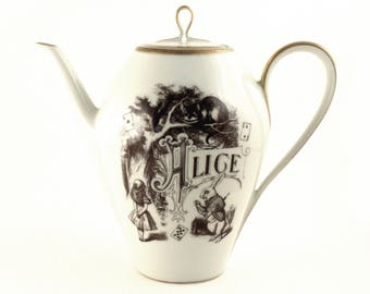 Alice in Wonderland, Altered Art, Teapot Coffee Pot, Unique Wedding Gift, Vintage Porcelain Pot, Cheshire Cat, White Rabbit, Lewis Carrol