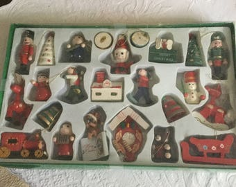 24 Vintage Boxed Wood Christmas Tree Ornaments Toys-Decoration