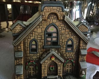 """Beautiful 8"""" Lefton Tall Ceramic Lighted Christmas Church with Snow/Steeple-Lighting/Holiday"""
