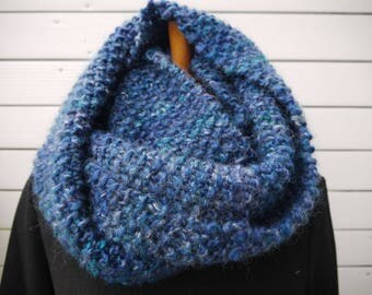 Chunky cowl or loop circular scarf. handknitted - single model