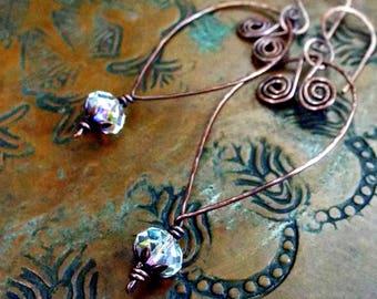 Boho Forged Copper Floating Hoop Swarovski AB Crystal Earrings