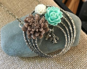 Large silver pendant necklace bee and flowers