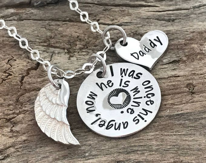Loss of Daddy | Daddy Memorial necklace | Remembrance Daddy Gifts | In Loving Memory of Daddy | Sterling silver angel wing necklace