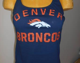 Denver Broncos halter top Reconstructed DIY Football