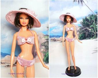 2 piece swimsuit for barbie doll, barbie beachwear, beach barbie
