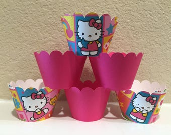 Hello Kitty Cupcake Wrappers set of 12 Ready to Ship