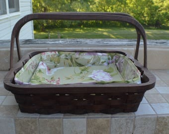 pie carrier tote basket Walnut wood with handles