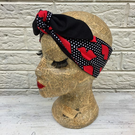 Red Lips and Polka Dot Headscarf Rockabilly Pinup 50's Inspired