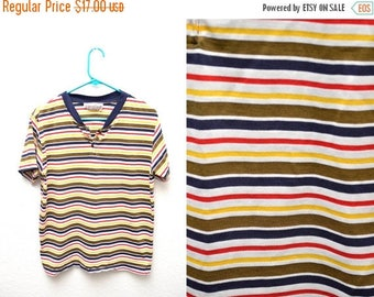 ON SALE 90s Multicolor Striped T-shirt Women's Medium