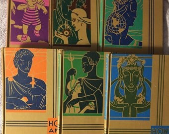 1950s HOW AND WHY Six Volume Set of Hardback Children's Books Great Illustrations Greek and Roman Gods