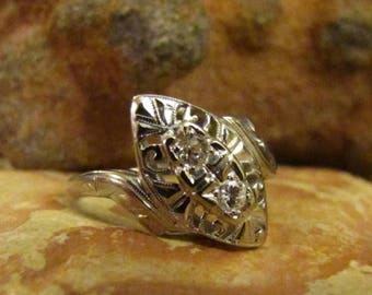 DEADsy LAST GASP SALE Old Mine Cut Antique Diamond Engagement Ring, White Gold Diamond Art Deco to Edwardian Ring