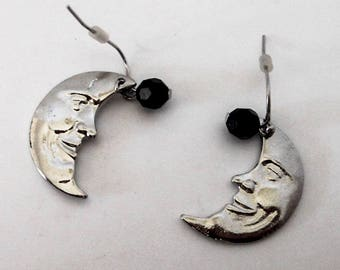 Vintage Crescent Moon Drop Earrings