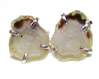 Baby Geode Earrings Geode Jewelry Prong Set Earring Raw Gemstone Earring Druzy Earrings Drusy Earring Stone Earring Delicate Earring