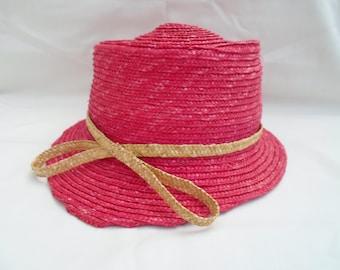 Raspberry pink straw hat