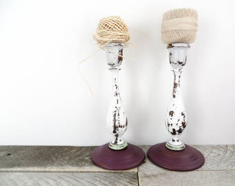 Painted Candlesticks - Gray Purple White - Unique Gift - Modern Trendy Decor