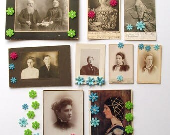 6 Antique photos, 3 vintage postcards and 43 paper and felt flowers collection