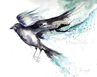 Raven Watercolor Art, Original Artwork, Original Watercolor Painting, Raven Art, Raven Artwork, Raven Painting, Watercolor Raven, Bird Art
