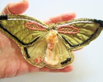 textile brooch , butterfly brooch in silk, soft sculpture