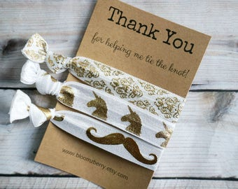 White/Gold Hair Tie Bridemaid Gift 3 pcs set-  Thank you for helping me tie the knot - Wedding/Bridesmaid/Gift/Wedding Party/Bridesmaid Gift
