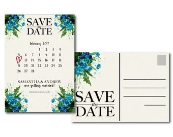 Watercolor Flowers Postcard Save the Date