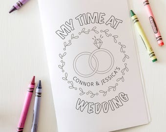 Customized Printable Wedding Coloring Book, Printable Activity Book, Kids Reception Activities, Printable Children's Coloring Pages
